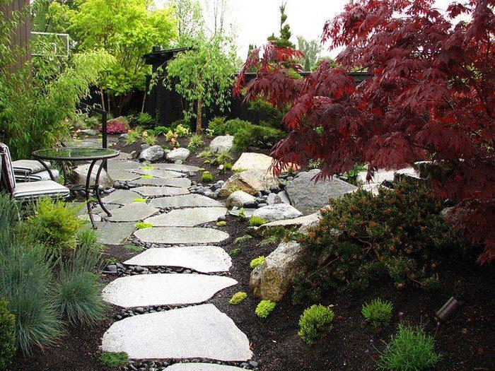Thiết kế lối đi trong sân vườn bằng đá cuội đá sỏi cỏ và nước đơn giản