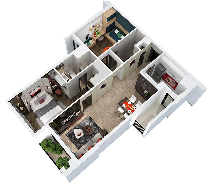 Bố trí mặt bằng căn hộ Hà Đô Centrosa Garden quận 10